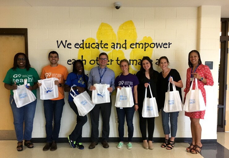 Go teach delivering tote bags and tote box to Lake Forest Elementary School IMG_1603.JPG